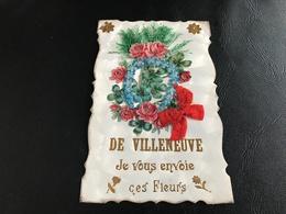 DE VILLENEUVE (Ain ? Tampon AMBERIEUX EN DOMBES) Je Vous Envoie Ces Fleurs - 1908 Timbrée - (relief...) - France