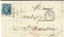 1865- Lettre De Vedène ( Vaucluse ) Cad AMB. Lyon à Marseille 2° Jour Affr.n°22 Oblit. Los L M 2° - 1849-1876: Klassik