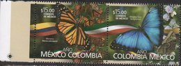 MEXICO, 2018, MNH, MEXICO COLOMBIA YEAR, BUTTERFLIES, JOINT ISSUE, 2v - Butterflies