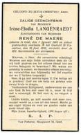 Gent: 1933, Mevrouw Irène-Elodia Langenraedt ( 2 Scans) - Devotieprenten