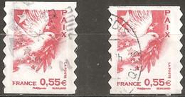 France Oblitéré  2008  Autoadhésif N° 178  Ou N° 4200   Paix   0.55 € Rouge  ( Un Grand Et Un Petit ) - France