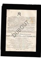 Doodsbrief Baron Joseph Kervyn De Lettenhove °1817 Sint-Michiels †1891 Belgisch Historicus En Minister (H9) - Décès