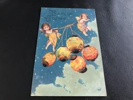 3635 - BONNE ANNEE (enfants & Lanternes Papier)  - 1905 Timbrée - Carte Gaufrée - Nouvel An