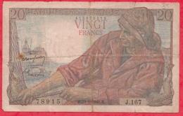 """20 Francs """"Pêcheur"""" Du 29/01/1948.F----Série J.167----G/TB+ - 1871-1952 Anciens Francs Circulés Au XXème"""