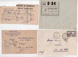 Lot De 5 Documents Cinéma Le Rio Sidi Bel Abbes Oran Lettre En Tête Radiation Courrier Fiche Médicale - Vieux Papiers