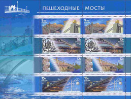 Russia 2011 Sheet Pedestrian Bridges Bridge Geography Places Architecture Arkhangelsk Region Belgorod Stamps MNH - Geography