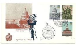 1976 - San Marino 963/65 Bicentenario Degli Stati Uniti - FDC - Indépendance USA