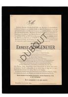 Doodsbrief Ernest Slingeneyer °1820 Lochristi †1894 Brussel Belgisch Kunstschilder /Peintre D'histoire (H 10) - Décès