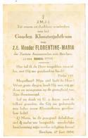 Berchem: 1954, Z.E. Moeder FLORENTINE-MARIA (zusters Annonicialen Van Berchem); Gouden Kloosterjubileum (2 Scans) - Devotieprenten