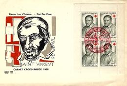 1958- First Day Cover  - Carnet CROIX-ROUGE  1958   SAINT-VINCENT - Croix-Rouge