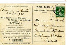 35 - RENNES - Union Des Pêcheurs à La Ligne De Rennes, Concours De Laillé 02/08/1910 - Marché Des Lices - Rennes