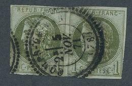CI-28: FRANCE: Lot  Avec N°39B (paire, Belle Obl Mais 2ème Choix) - 1870 Bordeaux Printing