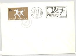 74672- WEST GERMANY'74 WORLD CUP, SOCCER, SPORTS, SPECIAL POSTMARK ON COVER, FENCING STAMP, 1974, ROMANIA - Fußball-Weltmeisterschaft