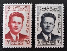 FARHAT HACHETD SYNDICALISTE 1956 - NEUFS * - YT 426/27 - MI 471/72 - Tunisie (1956-...)