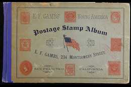 """RARE OLD STAMP ALBUM. The """"E. F. Lambs' Young America Postage Stamp Album"""" (circa 1888, A Hard Cover Horizontal Format W - Unclassified"""