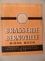 étiquette Ancienne Brasserie  BERNOVILLE Bière Bock Marcel Monfourny A Aisonville - Beer