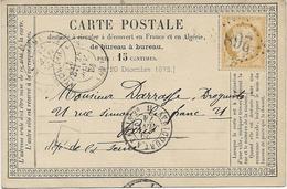 CARTE LETTRE AFFRANCHIE N° 59 OBLITERATION LOSANGE GROS CHIFFRES 268 -AY-CHAMPAGNE-1874 - 1898-1900 Sage (Type III)