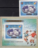 Overprint Italy Championat 1982 MONGOLIA 1530+Bl. A89 ** 160€ Fußball FIFA-Emblem Ms Hojita Bloc Ss Sheet Bf Soccer - Mongolia