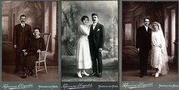 3 Gd Tirages Photos Albuminés Cartonnés - Portrait De Couples & Mariés De Montceau-Les-Mines Vers 1910/20, Fafournoux - Anonymous Persons