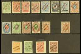 """TABRIZ 1917 OCCUPATION AZIRBAYEDJAN"""" Local Bogus/phantom Overprints On Russia, All Different, Includes Thirteen Perf And - Iran"""