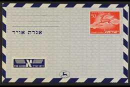 1950 AEROGRAMME 50Pr Red, Blue Inscriptions, Light Blue Overlay (1st Printing - 309mm X 213mm), Kessler FG2, Very Fine U - Israel