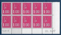 """FR Coins Datés YT 1892b Bloc De 10 """" Béquet 1F00 Rouge, SS Phosphore """" Neuf** Du 26.9.77 - Ecken (Datum)"""