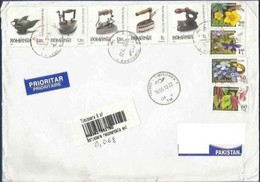 ROMANIA REGISTERED POSTAL USED AIRMAIL COVER TO PAKISTAN FLOWERS FLOWER - Poste Aérienne