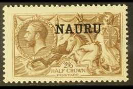 1919 2s6d Chocolate-brown Seahorse, Bradbury Printing, SG 24, Very Fine Mint. For More Images, Please Visit Http://www.s - Nauru