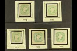 1853 50r GREEN REPRINTS. Complete Set Of Five Different Reprints Of The 1853 50r Green, Comprising 1863 & 1885 Issues Un - Portugal
