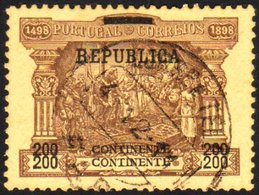 """1911-12 """"Republica"""" Overprint On Postage Due 200r Brown On Buff With """"200"""" And """"Continente"""" PRINTED DOUBLE Variety, As S - Portugal"""