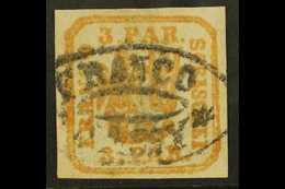 """1862-64 3p Orange-yellow Handstruck On Wove Paper (SG 29a, Michel 8 Ix), Fine Used With Part """"Franco Jassy"""" Oval Cancel, - Roumanie"""