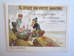 Chromo Chromos Alcool Ricqles Saint Ouen Il était Un Petit Navire Illustrateur Gerbault - Chromos