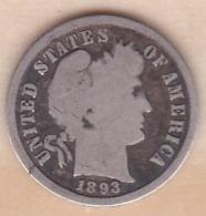 Etats-Unis. One Dime 1893 , Barber, En Argent - Émissions Fédérales