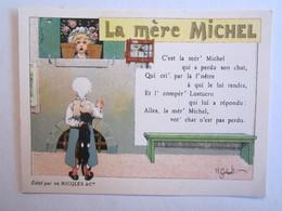 Chromo Chromos Alcool Ricqles Saint Ouen Illustrateur Gerbault La Mère Michel Chat - Chromos