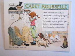 Chromo Chromos Alcool Ricqles Saint Ouen Illustrateur Gerbault Cadet Rouselle Chien Chat - Chromos