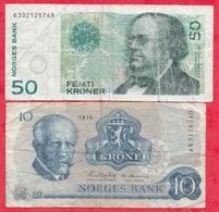 Norvège 2 Billets Dans L 'état - Norvège
