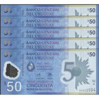 TWN - URUGUAY NEW - 50 Pesos Uruguayos 2017 (2018) DEALERS LOT X 5 Polymer - 50th Ann. Of Banco Central - Low Serial UNC - Uruguay