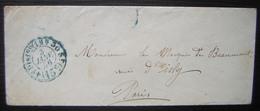 Paris 1856 Cachet Bleu 15 Centimes 4 Eme Distribution 1 H 30, Pour Le Marquis De Beaumont Rue D'Isly - 1849-1876: Periodo Classico