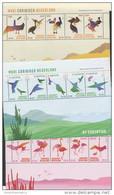 CARIBISCH NEDERLAND,2015, MNH,  BONAIRE, ST.EUSTATIUS, SABA, BIRDS, STYLIZED BIRDS, 3 SHEETLETS - Birds