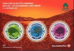 NEW ZEALAND, 2018, MNH,  MACAO EXHIBITION, BIRDS, KIWI, ROUND KIWI , SHEETLET - Kiwi