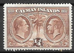 1938 Centenary Of The Caymans, 1/4d, Mint Hinged - Cayman Islands