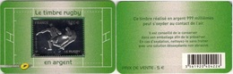 FRANCE Autoadhésif 597 ** MNH Rugby En Argent 999/1000ème Sous Blister Et Support Format CB - France