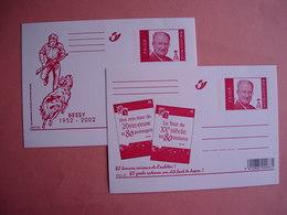 """Belgique. 2 Entiers Postaux Illustrés : 50 Ans  """"Bessy"""" Par Willy Vandersteen Et """"Le Tour Du XXme Siècle En 8O Timbres."""" - Illustrat. Cards"""