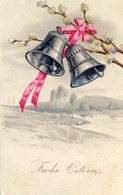 """""""FROHE OSTERN"""" TWO BELLS WITH PINK LOOP / DOS CAMPANAS CON UN LAZO ROSA - POSTAL POST CARD CIRCULATED 1927 -LILHU - Pasen"""