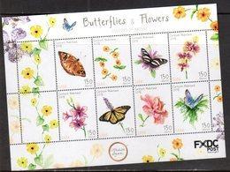 CARIBISCH NEDERLAND,  SABA,  2018, MNH, BUTTERFLIES, FLORA, FLOWERS,SHEETLET - Butterflies