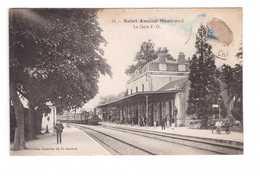 18 Saint Amand Montrond La Gare Train Locomotive à Vapeur Cpa Carte Animée Animation - Saint-Amand-Montrond