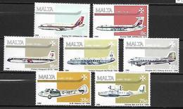MALTE    -   Poste Aérienne.   1984.   Y&T N° 15 à 21 **.  Avions.  Série Complète.. - Malta