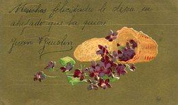 BASKET WITH VIOLET FLOWERS IN GOLDEN BACKGROUND / CANASTA CON FLORES VIOLETAS - POSTAL POSTCARD WRITTEN  -LILHU - Bloemen