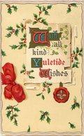 """WITH ALL KIND YULETIDE WISHES"" MUERDAGOS EN EL FONDO / MISTLETOE - POSTAL POSTCARD CIRCULATED 1904 -LILHU - Bloemen"