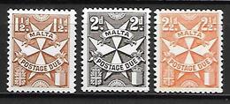 MALTE    -   Timbres-Taxe.   1968.   Y&T N° 33 à 35 **. - Malte